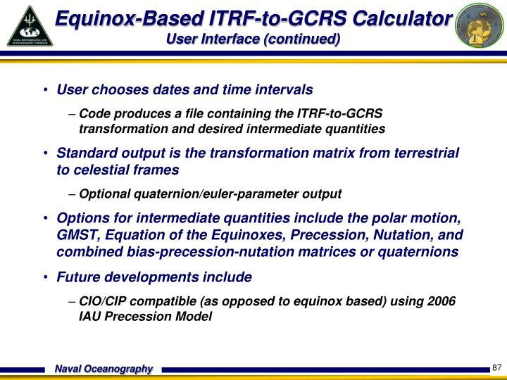 Equinox-Based ITRF-to-GCRS Calculator