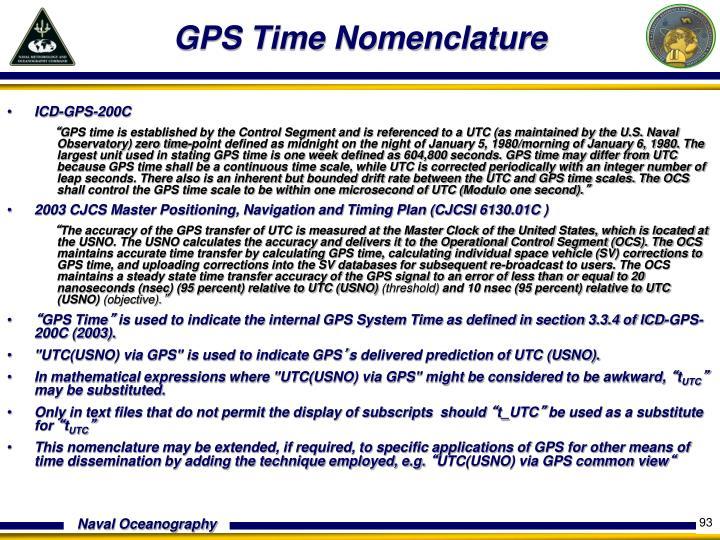 GPS Time Nomenclature