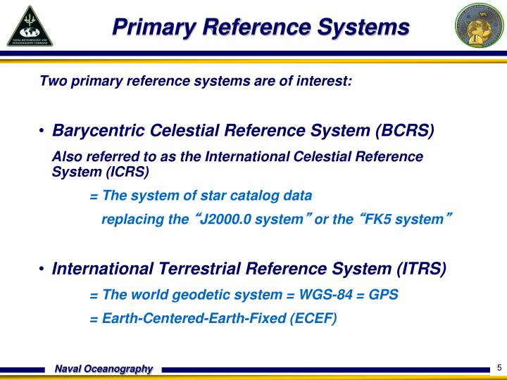 Primary Reference Systems