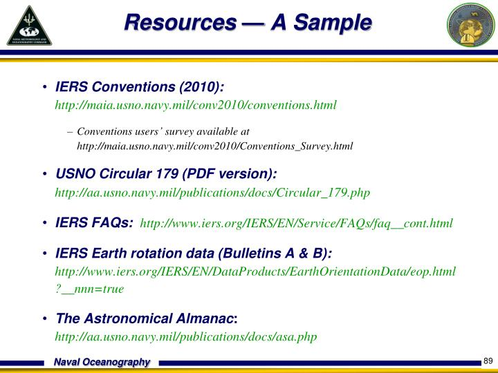 Resources — A Sample