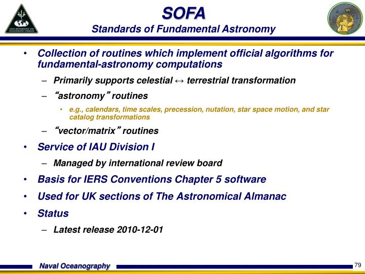 Collection of routines which implement official algorithms for fundamental-astronomy computations
