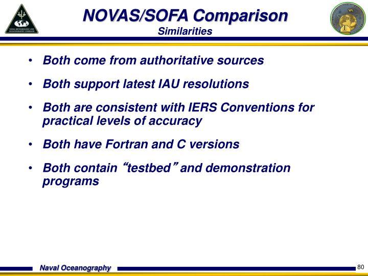 NOVAS/SOFA Comparison