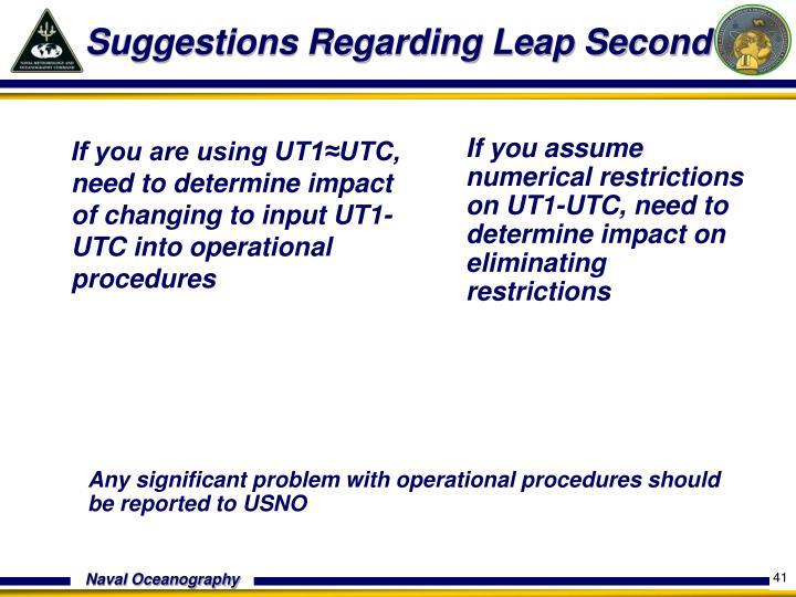 Suggestions Regarding Leap Second