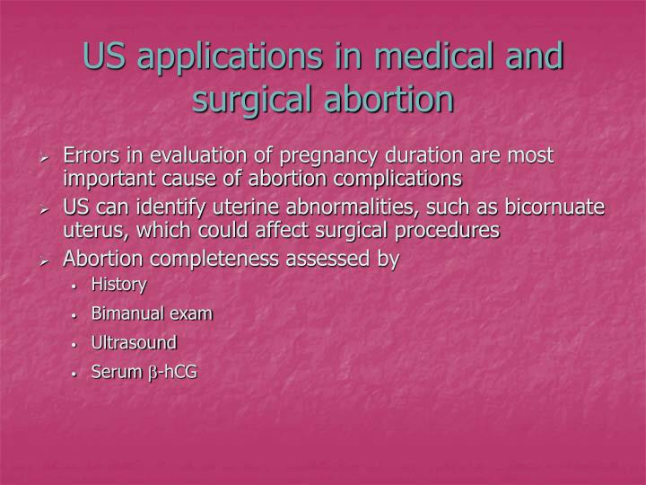 US applications in medical and surgical abortion