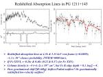 redshifted absorption lines in pg 1211 143