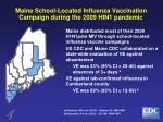 maine school located influenza vaccination campaign during the 2009 hin1 pandemic
