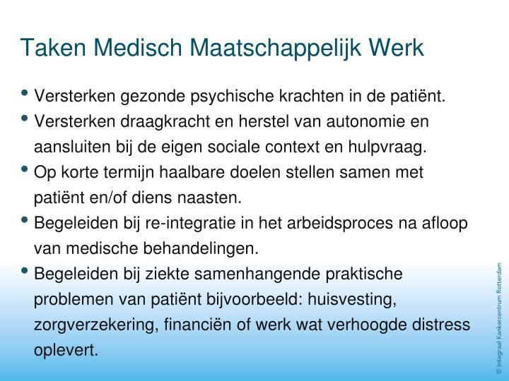 Taken Medisch Maatschappelijk Werk