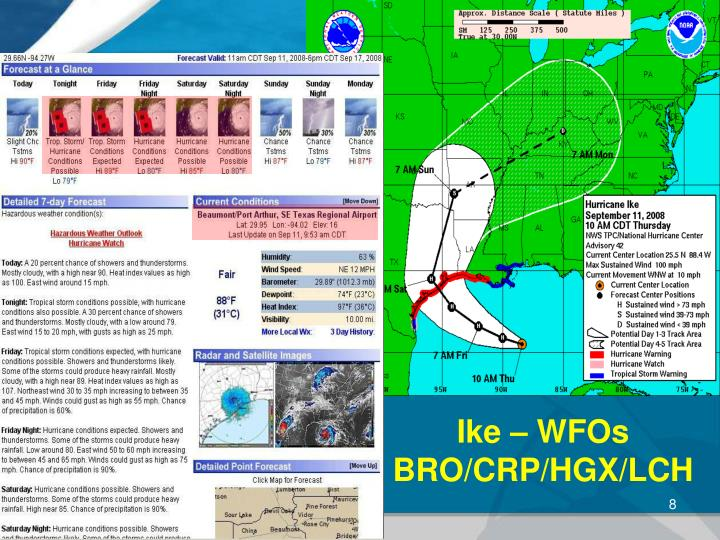 Ike – WFOs  BRO/CRP/HGX/LCH