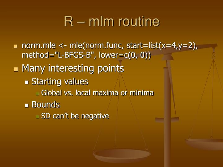 R – mlm routine