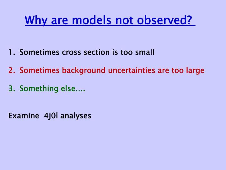 Why are models not observed?