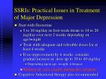 ssris practical issues in treatment of major depression