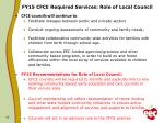 fy15 cfce required services role of local council