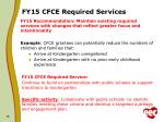 fy15 cfce required services