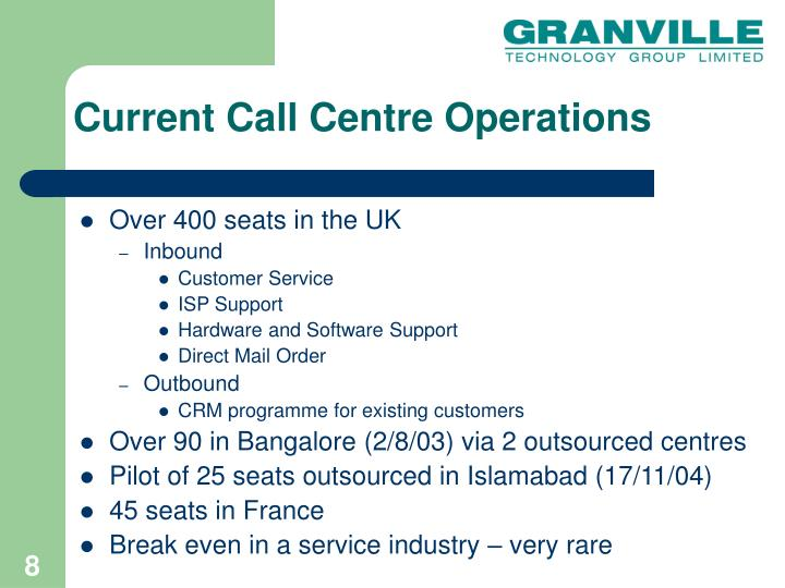 Current Call Centre Operations