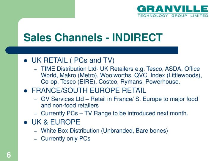 Sales Channels - INDIRECT