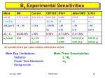 b s experimental sensitivities