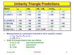 unitarity triangle predictions