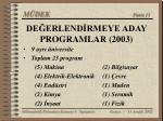 de erlend rmeye aday programlar 2003