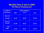 monthly fees if join in 2005 per bed or housing unit