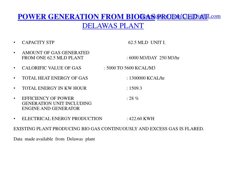 POWER GENERATION FROM BIOGAS