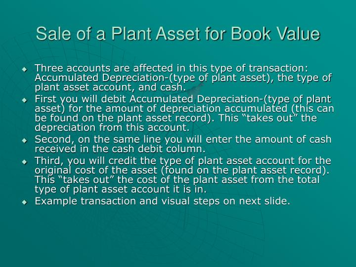 Sale of a plant asset for book value