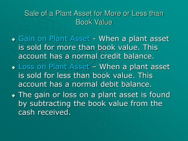Sale of a Plant Asset for More or Less than