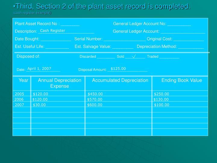 Plant Asset Record No : ________                             General Ledger Account No: __________