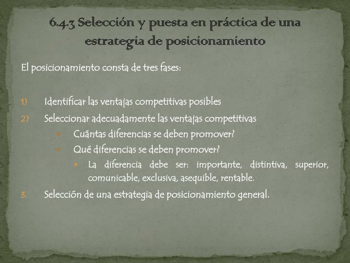6.4.3 Selección y puesta en práctica de una estrategia de posicionamiento