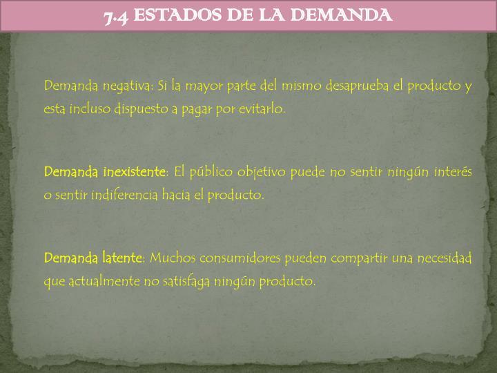 7.4 ESTADOS DE LA DEMANDA