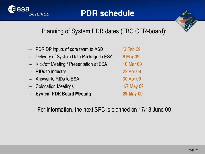 PDR schedule