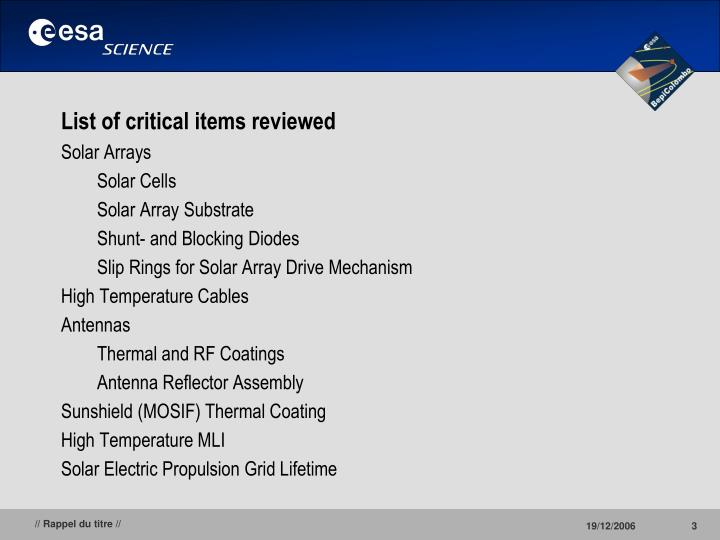 List of critical items reviewed