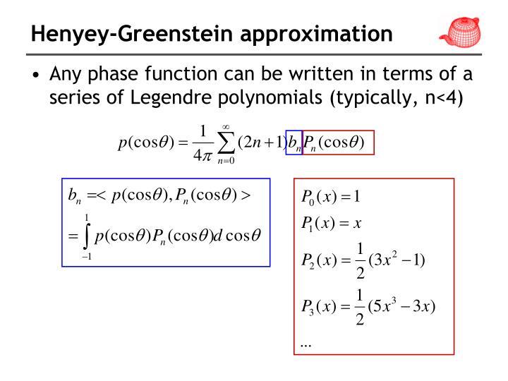 Henyey-Greenstein approximation