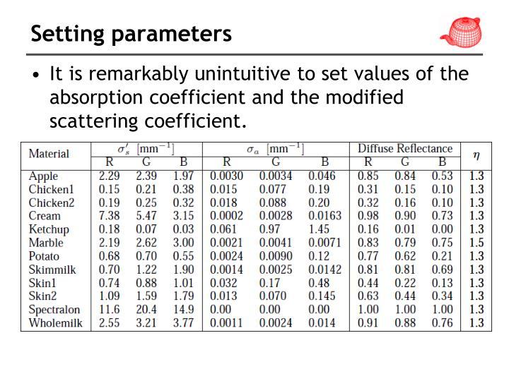 Setting parameters
