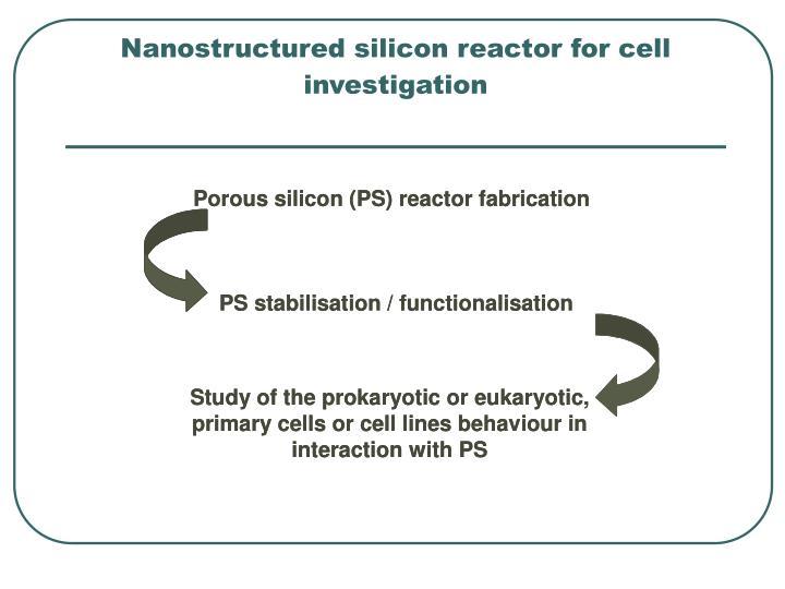 Nanostructured silicon reactor for cell investigation