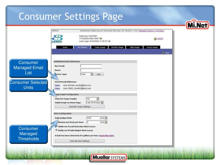 Consumer Settings Page