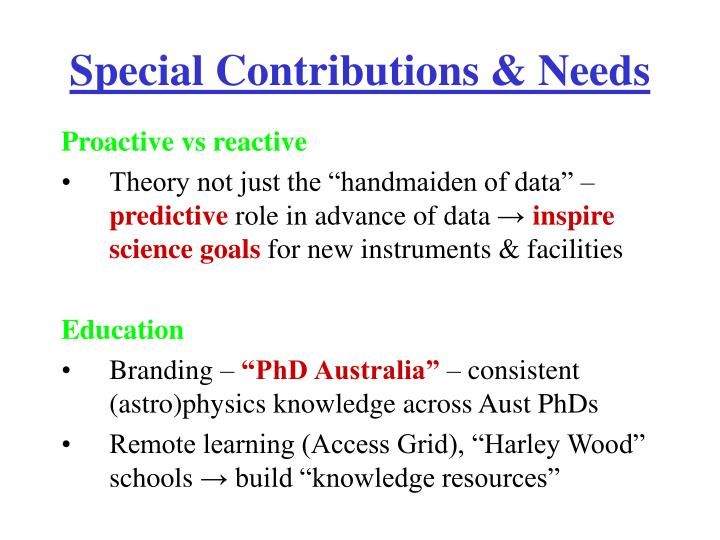 Special Contributions & Needs