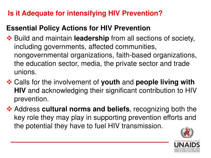 Is it Adequate for intensifying HIV Prevention?