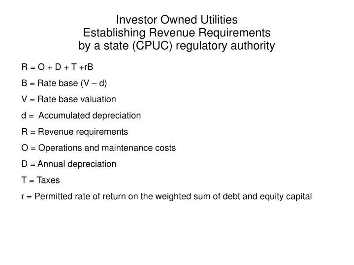 Investor Owned Utilities