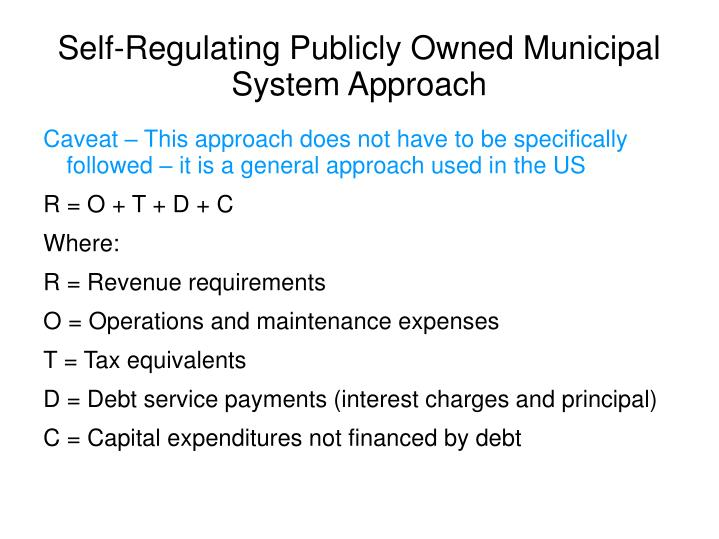 Self-Regulating Publicly Owned Municipal System Approach