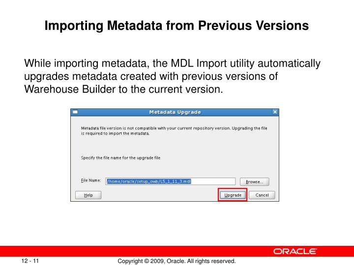 Importing Metadata from Previous Versions