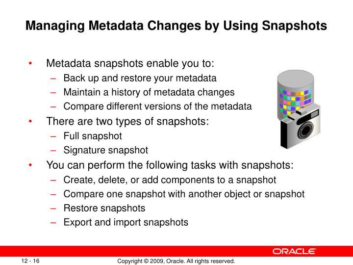 Managing Metadata Changes by Using Snapshots