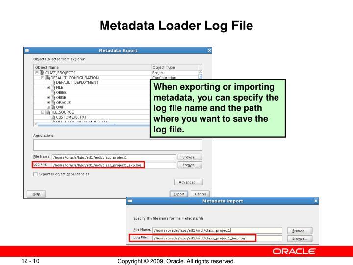 Metadata Loader Log File