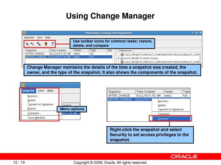 Using Change Manager