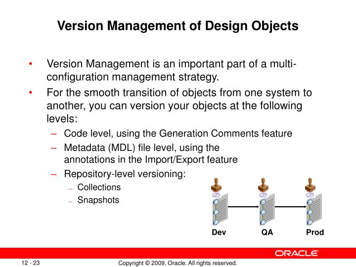 Version Management of Design Objects