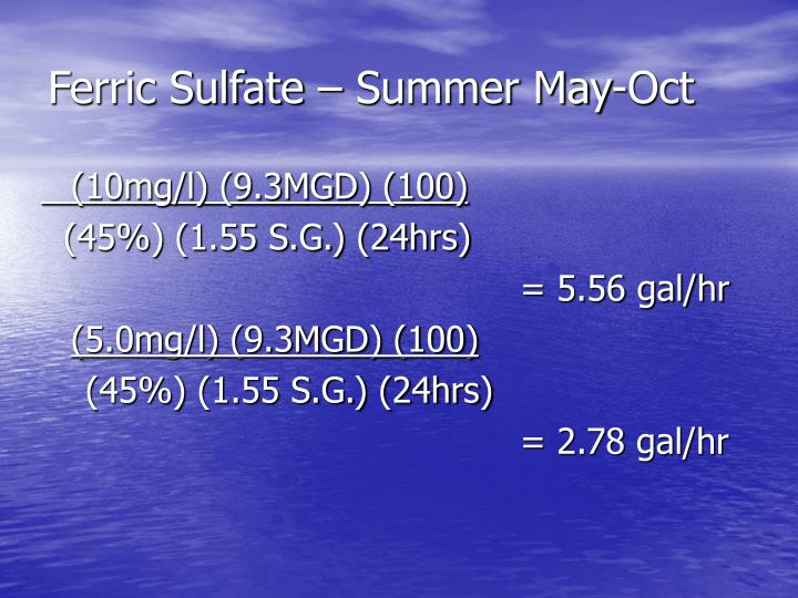 Ferric Sulfate – Summer May-Oct
