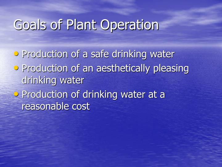 Goals of plant operation