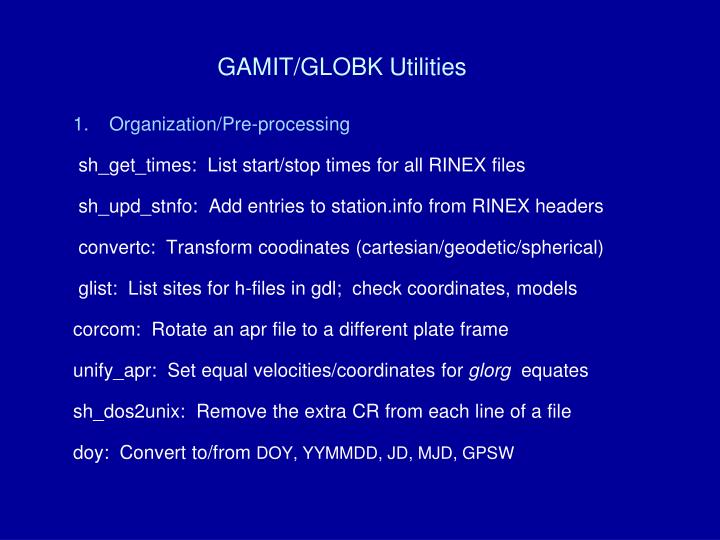 Gamit globk utilities