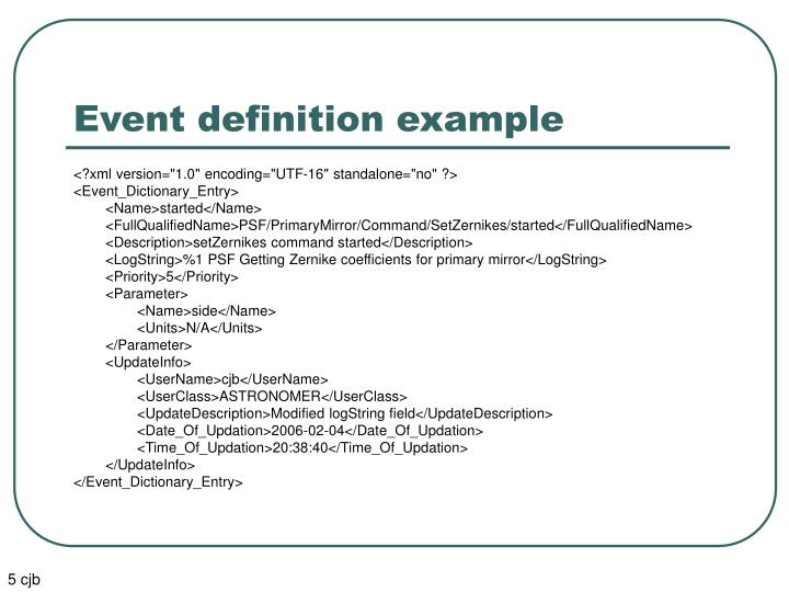 Event definition example
