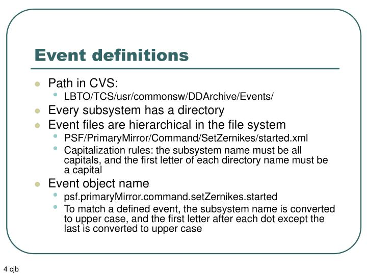 Event definitions