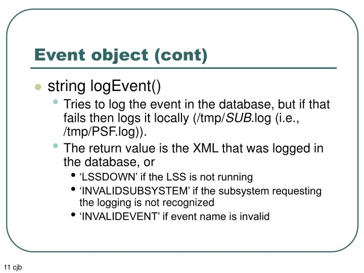 Event object (cont)